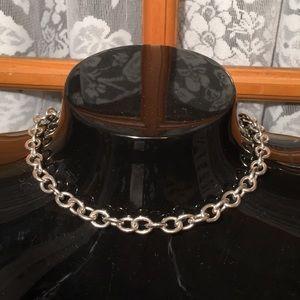 "18"" Heavy Silver Tone Choker Necklace"